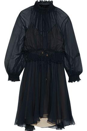CHLOÉ Ruffle-trimmed shirred silk-gauze dress