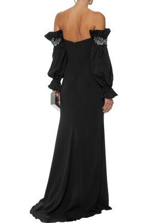 BADGLEY MISCHKA Off-the-shoulder crystal-embellished stretch-cady gown