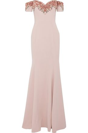BADGLEY MISCHKA Off-the-shoulder embellished ponte gown