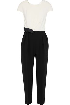 MAX MARA Batun bow-embellished two-tone stretch-crepe jumpsuit