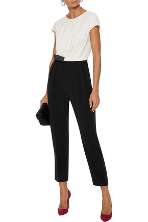 WEEKEND MAX MARA Batun bow-embellished two-tone stretch-crepe jumpsuit