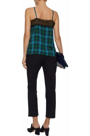 W118 by WALTER BAKER Mabel lace-trimmed checked flannel camisole