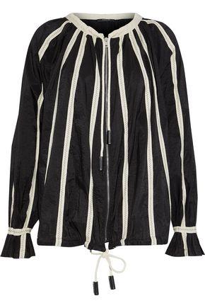 DEREK LAM Canvas-trimmed crinkled cotton-blend blouse