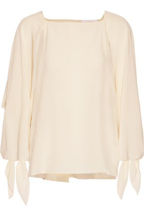 CHLOÉ Tie-detailed washed-silk blouse