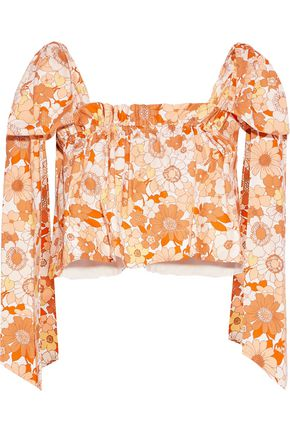 CHLOÉ Cropped bow-detailed floral-print cotton-poplin top