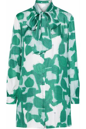 WEEKEND MAX MARA Anzio pussy-bow printed silk-twill blouse