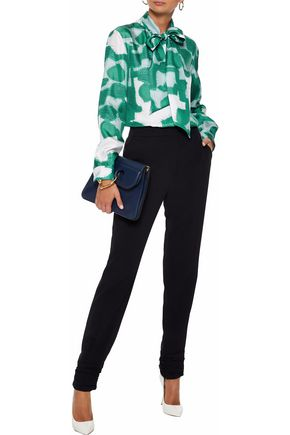 MAX MARA Anzio pussy-bow printed silk-twill blouse