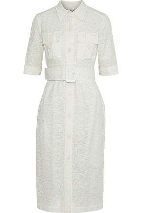 DEREK LAM Belted cotton-blend lace shirt dress