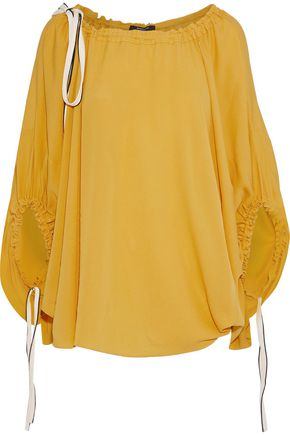 DEREK LAM Tie-detailed silk-crepe blouse