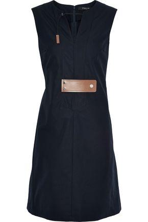 DEREK LAM Faux leather-trimmed cotton-poplin dress