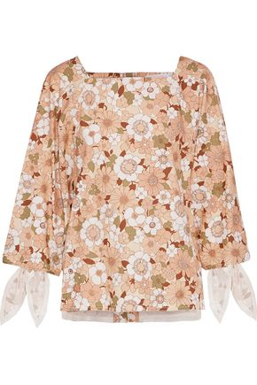 CHLOÉ Knotted floral-print cotton top
