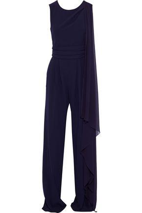 MAX MARA Draped chiffon-paneled crepe jumpsuit