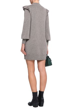 JOIE Catriona ruffle-trimmed wool and silk-blend mini dress