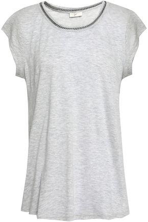 JOIE Damani chain-trimmed linen and modal-blend jersey T-shirt