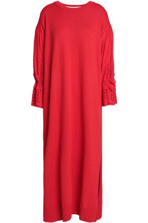 GOEN.J Broderie anglaise cotton and wool-blend maxi dress