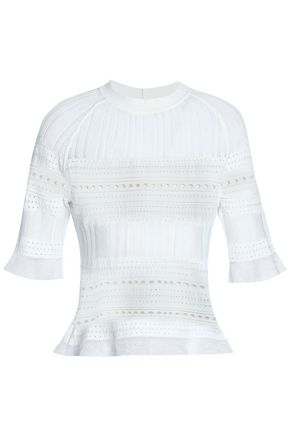 RAOUL Pointelle-knit cotton-blend top
