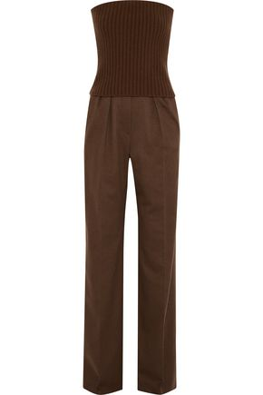 WEEKEND MAX MARA Biada strapless layered ribbed-knit and camel hair jumpsuit