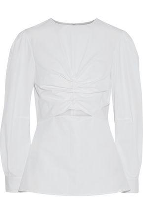 DEREK LAM Cutout ruched cotton-poplin blouse