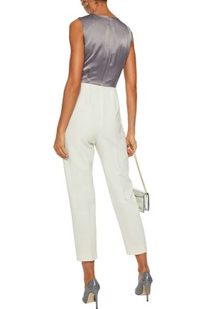 MAX MARA Talco two-tone hammered silk-satin and crepe jumpsuit
