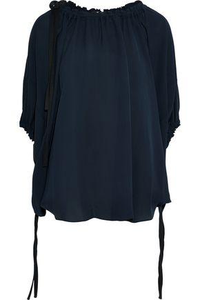 DEREK LAM Tie-detailed silk-crepe blouse