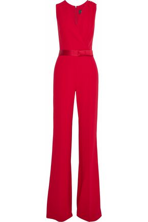 MAX MARA Wrap-effect satin-trimmed crepe jumpsuit