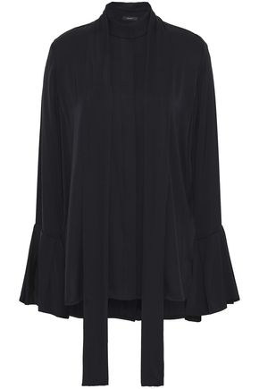 ELLERY Draped silk-blend shirt