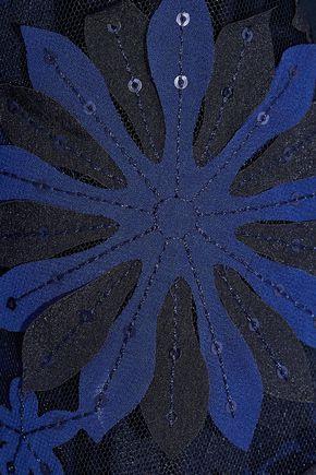 BADGLEY MISCHKA Floral-appliquéd tulle-paneled cady dress