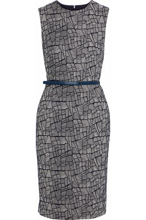 MAX MARA Belted cotton-blend jacquard dress