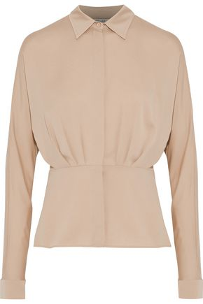 MAX MARA Calle pleated silk crepe de chine blouse