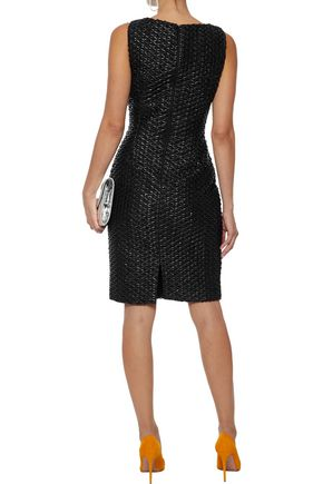 BADGLEY MISCHKA Faux leather-appliquéd sequined lace dress