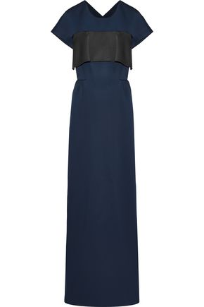 DEREK LAM Layered two-tone satin-crepe gown