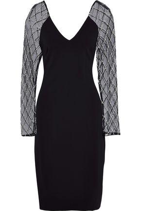 BADGLEY MISCHKA Embellished tulle-paneled stretch-cady dress