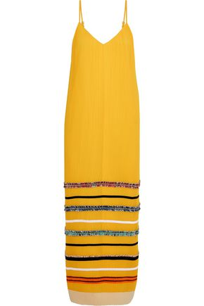 DEREK LAM Appliquéd plissé-chiffon maxi dress