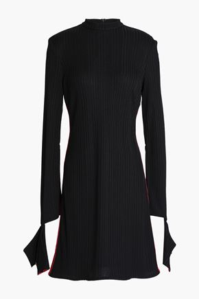 ELLERY Striped ribbed-knit mini dress