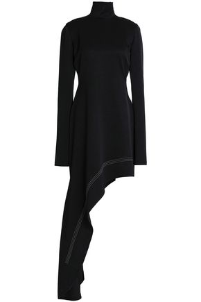 ELLERY Cutout asymmetric satin-crepe turtleneck mini dress