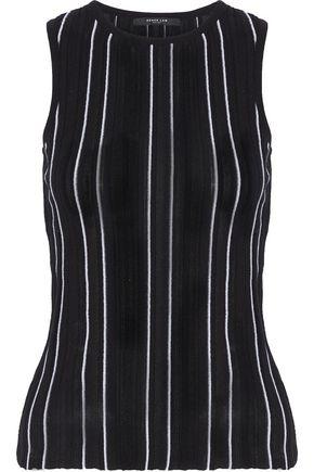 DEREK LAM Striped ribbed-knit cotton-blend top