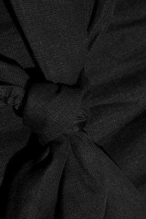 DEREK LAM Strapless mesh-paneled knotted linen top