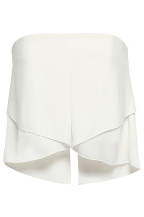 NICHOLAS Strapless cropped crepe top