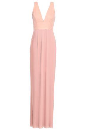 NICHOLAS Paneled plissé silk maxi dress