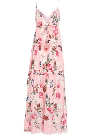 NICHOLAS Tiered floral-print cotton and silk-blend maxi dress