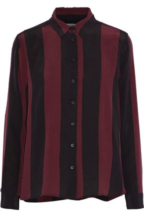 GANNI Maple striped silk shirt