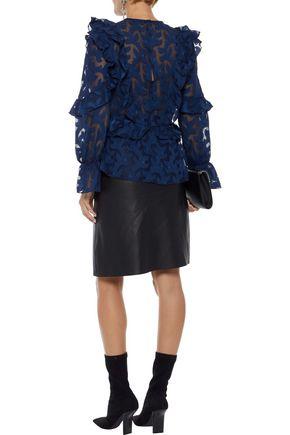 W118 by WALTER BAKER Mana ruffled fil coupé chiffon blouse
