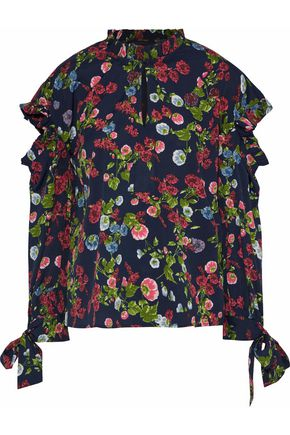 W118 by WALTER BAKER Vanessa cutout floral-print crepe de chine blouse