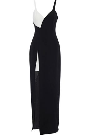 CINQ À SEPT Lita split-front two-tone crepe gown