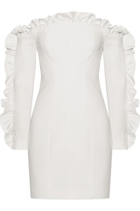 CINQ À SEPT Rosemarie off-the-shoulder ruffle-trimmed cady mini dress