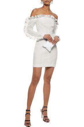 CINQ À SEPT Rosemarie off-the-shoulder ruffle-trimmed cady mini dress