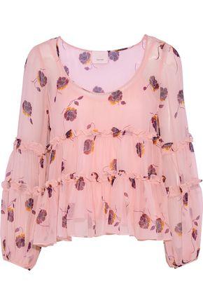 CINQ À SEPT Tumbling Jasmine ruffle-trimmed floral-print silk-chiffon blouse