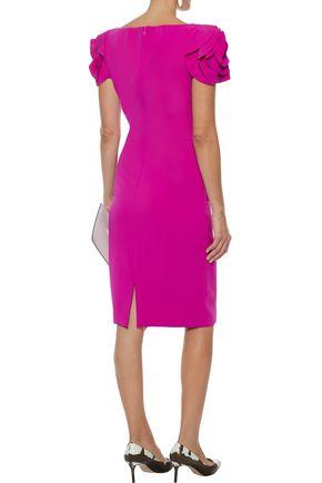 BADGLEY MISCHKA Ruffle-trimmed stretch-cady dress