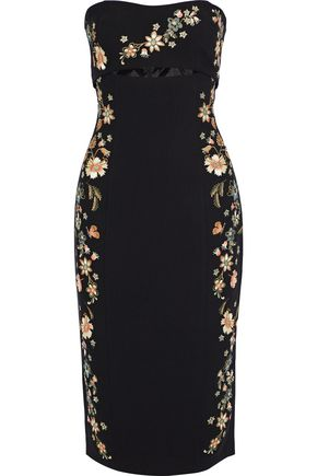 CINQ À SEPT Clemence strapless cutout embroidered ponte dress