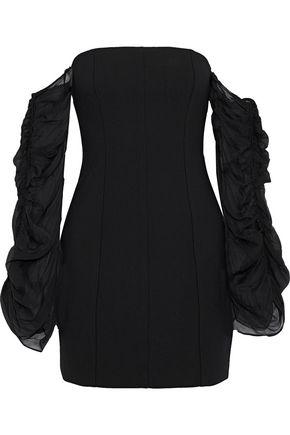 CINQ À SEPT Anastasia off-the-shoulder silk-georgette and cady mini dress